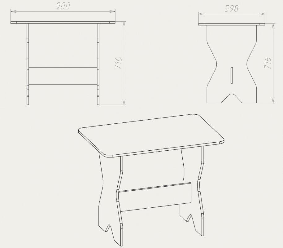 Кухонный стол и табуретки чертежи